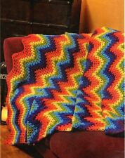 Crochet Pattern Cheery Rainbow Throw Afghan Blanket Easy