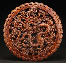 CHINA HAND-CARVED DRAGON STATUE CAMPHOR WOOD PLATE
