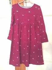 LANDS END Girl Size 7 Magenta Pink HORSE Long Sleeve Cotton Classic Comfy Dress