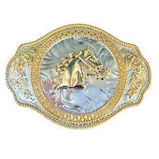 Rodeo Big Two-tones Gold Horse Head Metal Belt Buckle Western Cowboy Filigree
