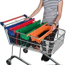 4PC Washable Foldable Shopping Grab Trolley Bags Reusable Grocery Clips ToCart
