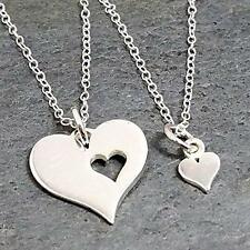 Mother Daughter Two Hearts Necklace 925 Sterling Silver Two Charm Necklaces NEW