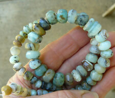 """PERUVIAN BLUE OPAL Beads  Faceted Rondelle Rich Caribbean colored gemstone 16"""""""