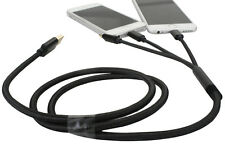 3 in1 8Pin / Micro USB Charger Cable Sync Charge Cord for Samsung iPhone Black