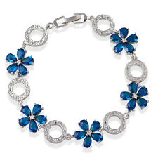 TB1075A Blue Zircon Overlay Link Chain Bracelet Silver Filled Fashion Jewelry
