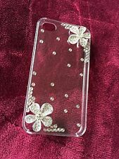 New Clear Plastic Case iPhone 4 4s Crystal Flowers Rhine Stone Jewelled