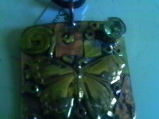 SADIE GREEN COPPER BRASS BUTTERFLY HANDCRAFTED ART NECKLACE MIXED MEDIA CORD