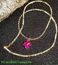 SPARKLING 9K YELLOW GOLD FILLED NECKLACE WITH BEAUTIFUL RUBY STONE PENDANT