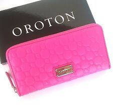 RRP$295 New OROTON Wallet Roche Large Multi Pocket Zip Around Large Clutch Pink