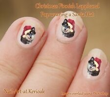 Finlandesa lapphund Navidad Santa Sombrero Set De 24 Perro Arte De Uñas Stickers Calcomanías Pup