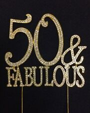 GOLD Rhinestone 50 & FABULOUS Birthday Party Number Cake Topper Decoration 50FG