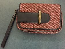 PAUL FRANK WRISTLET CLUTCH PURSE MAGENTA TWEED FLAP CLOSURE MULTI COMPARTMENTS