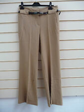 LADIES CAMEL SMART HI WAIST CASUAL FLARED TROUSERS WITH BELT SIZE 12 BNWT