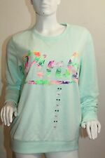 VICTORIA'S SECRET Pink Floral Sweat Shirt PullOver Color Mint Green Large NWT