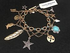 LUCKY BRAND Americana Rock Crystal Two-Toned Charm Bracelet NWT L@@K Fast Ship!!