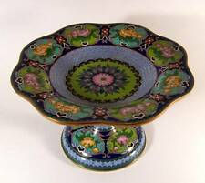 Antique Fine Chinese Cloisonne Lotus Flower Pedestal Bowl