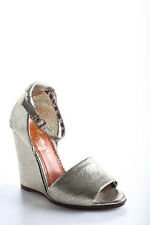 Charlotte Olympia Silver Mischievous Wedges Sandals Size 37 7 New In Box