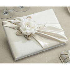 Taupe Satin Wedding Guest Book and Pen Set with Rose