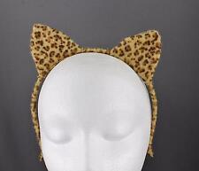 Tan Brown cat ears headband cheetah soft faux fur furry kitten hair band