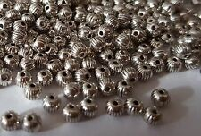 100 Antique Silver Pumpkin 4mm Spacer Beads 4 Jewellery Making BUY 3 FOR 2