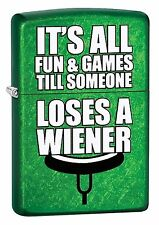 "Zippo ""It's All Fun & Games-Lose a Weiner"" Meadow Green"" Lighter, 29345"