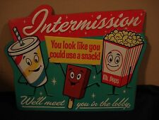 NEW  POPCORN SODA POP THEATER PLAQUE cinema vintage retro style decor wall art