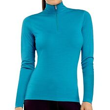 NEW Icebreaker Bodyfit 200 Oasis Stripe Zip Neck Base Layer Top - UPF 30+, W's S