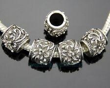 50pcs Lots Tibetan Silver Flower Charm Beads Fit Bracelet Free Ship ZY118