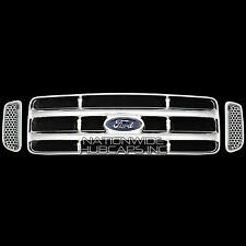 Ford F250 F350 F450 SD SUPERDUTY CHROME Grille Grill Snap-On Insert Overlay Trim