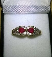 BEAUTIFUL SECONDHAND18ct YELLOW GOLD RUBY AND DIAMOND BAND RING SIZE S