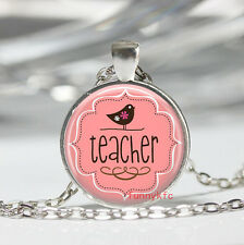 1pcs Vintage teacher Cabochon Silver plated Glass Chain Pendant Necklace