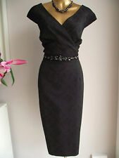 STUNNING MONSOON BLACK ESHA FLORAL JACQUARD LACE JEWEL BEADED SHIFT DRESS 22
