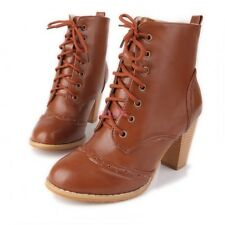 Retro Carved Lace Up Cuban Heel Women's Brogue Ankle Boots Shoes UK 1.5-10.5 NEW