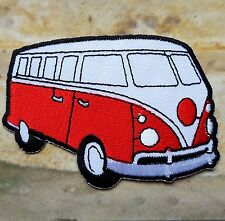 Ecusson Patch brodé thermocollant voiture combi VW van - rouge
