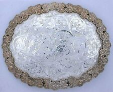Western SILVER KING Sterling Chatsworth CA Handmade HUGE Oval Trophy Belt Buckle