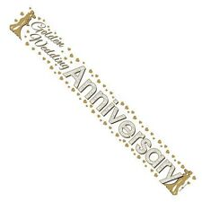 3 x 50TH GOLDEN WEDDING ANNIVERSARY FOIL BANNERS - PARTY DECORATION - 3FT EACH