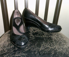 Clarks Artisan Collection Black Genuine Leather Sz 6M Woven Accent Wedge Heels
