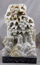 HAND CARVED SHOUSHAN(?) STONE Grapes Grapevines STATUTE