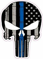 Punisher Skull American Flag Thin Blue Line Police Vinyl Sticker Decal