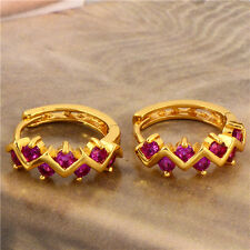 Fashion Jewelry 18K Gold Plated Red Crystal Earrings Wave Womens Hoop Earrings
