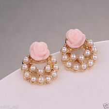 Valentine Pink Rose Pearl women 18k gold plated cuff studs fashion earrings