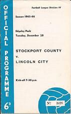 Football programme - Stockport County v Lincoln City - Div 4 - 1965