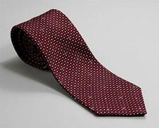 Chanel Paris Red Burgundy Pink Dot Pattern Hand Made Italy 100% Silk Tie 3 3/8""