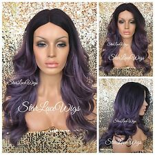 Long Purple Full Wig Dark Roots Curly Layers Middle Part Heat Safe Ok