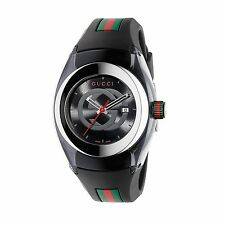 New Gucci Sync Swiss Black Striped Rubber Strap Women's Watch YA137301