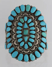 Vintage Native American Sterling Silver Turquoise Cluster Cuff Bracelet