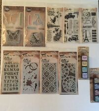 TIM HOLTZ - CLEAR STAMP, STENCIL AND INK PAD SET - 11 PACKAGES - LOT1