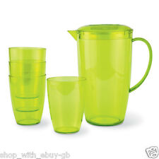 2 Litre Plastic Pitcher and 4 Tumblers Jug/Cup Set - Green Stackable Beakers