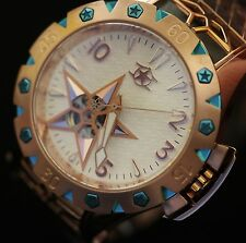Watchstar American Star Open Heart Automatic Rose Gold Blue Star Watch