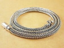 """New Thick Woven Foxtail Wheat 925 Sterling Silver Necklace Chain 5mm 20"""" 72g"""